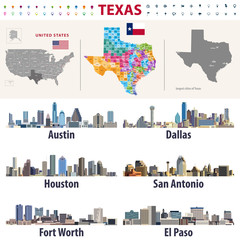 Fototapete - Texas's vector high detailed map showing counties formations. Largest cities skylines of Texas