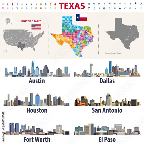 Fototapete Texas's vector high detailed map showing counties formations. Largest cities skylines of Texas
