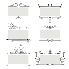 Collection of vector frames. Vintage elements with ornamental decoration, isolated on white background