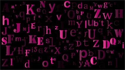 falling random letters, alphabet beautiful background design