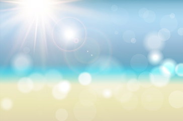 Abstract summer background with sun rays and blurred bokeh