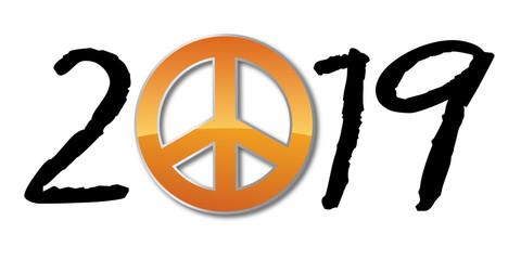 2019 - paix - amour - hippie - fraternité - peace and love - carte de vœux, tolérance, symbole,