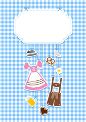 DIN A4 Hanging Octoberfest Symbols & Check Pattern Label