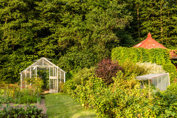 Small greenhouse in the garden, farming in the summer vegetable garden