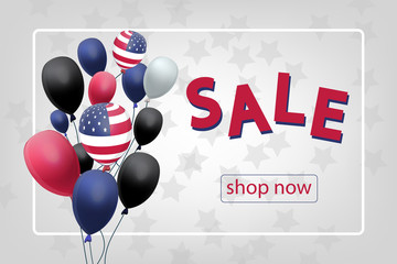 Sale banner with US Patriotic balloons on white background for the Fourth of July. Memorial Day. Martin Luther King Day.