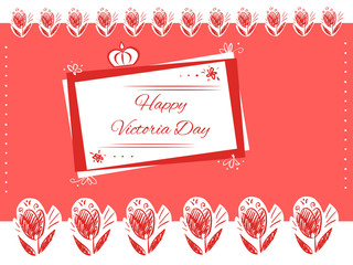 Red doodle greeting card happy victoria day