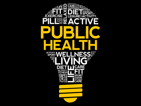 Public Health bulb word cloud, health concept background