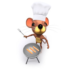 Vector 3d Funny cartoon rodent mouse character cooking on a barbecue