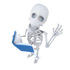 Vector 3d Funny cartoon skeleton character reading a book