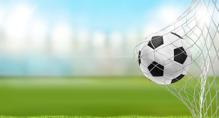 soccer goal soccer ball soccer stadium green lawn 3d rendering