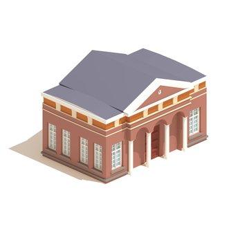 Flat 3d model isometric city hall or university building  illustration isolated on white background.