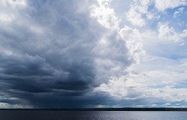 Cloudy sky above river Volga near Kazan, Russia