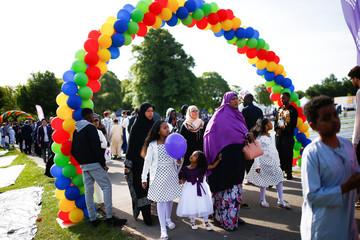 Muslims gather for Eid al-Fitr prayers to mark the end of Ramadan, in Small Heath Park in Birmingham