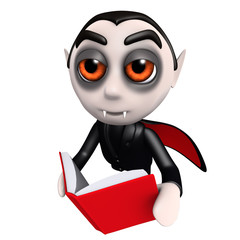 3d Funny cartoon dracula vampire character reading a book while flying