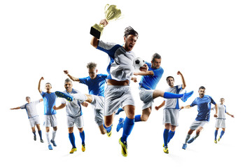 Soccer players selebrates the victory on white background
