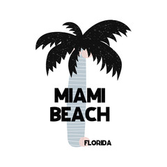 Card with lettering Miami beach Florida in Scandinavian style. Vector illustration
