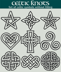 Set of celtic symbols without filling. 9 symbols made with Celtic knots for use in tattoos or designs.
