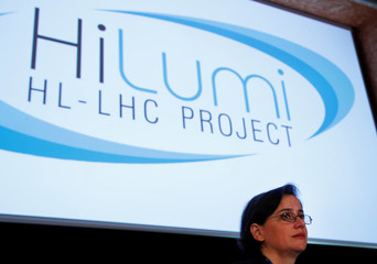 Bejar Alonso, HL-LHC Configuration, Quality and Sourcing Officer attends  a news conference to launch the works for the High Luminosity LHC Project  at the CERN in Meyrin