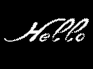 """Hello"" on black background."
