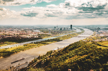 Kahlenberg, Vienna landscape with Danube river