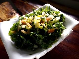Plate of Pako Salad or Fiddlehead Fern Salad