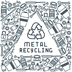 Metal recycling card with garbage and inscription. Linear style vector illustration