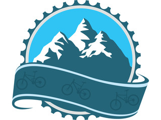 Design, badge for downhill challenge bikers with blue mechanic part