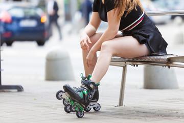 Woman wearing roller skates