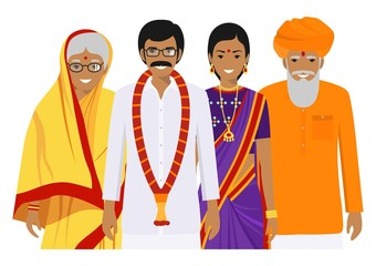 Family and social concept. Indian person generations at different ages. Set of adult people in traditional national clothes: father, mother, grandmother, grandfather standing together. Vector