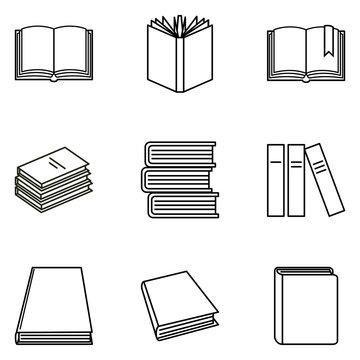 Vector Set of Black Outline Book Icons.