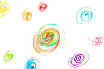 Abstract watercolor on white background. Hand drawn by watercolor paints