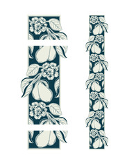 seamless decorative ornamental border with pear