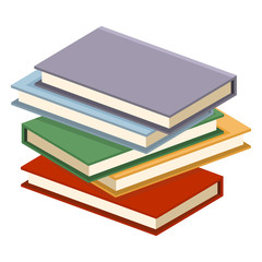 Vector Single Flat Color Icon - Stack of Color Books