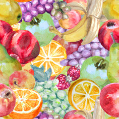 Watercolor background of fresh fruits. Seamless pattern.