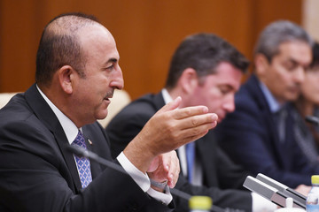Turkish Foreign Minister Mevlut Cavusoglu speaks during a meeting with Chinese Foreign Minister Wang Yi in Beijing