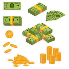 Stack of money and pile of cash. Dollar banknote and gold coins icons set. Vector cartoon flat illustration of paper and metallic currency isolated on white background.
