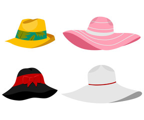 Summer beach hats illustration. Vector flat cartoon set of male and female headdresses isolated on white background.