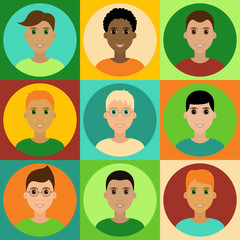 Cute children male avatar set. Boys, youngsters, teenagers. Diverse kids faces, different haircuts. Vector clipart illustration
