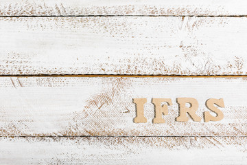 IFRS word on white painted table