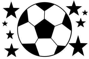 Image of soccer ball and five-pointer stars in a black - white colors