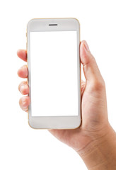 Hand showing touch screen mobile phone.