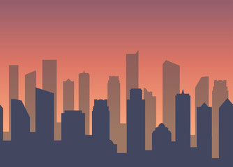 Vector Background with City for Business web site footer