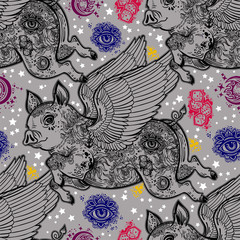 Flying winged pig seamless pattern. Piglet with body decorated in flash tattoos with wings.