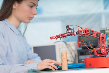 Student girl in robotics class