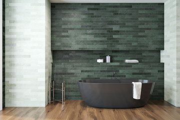 White and emerald luxury bathroom black tub
