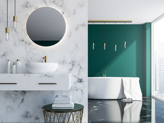 Marble and green bathroom interior close up