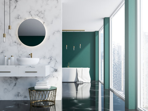 Marble and green bathroom interior