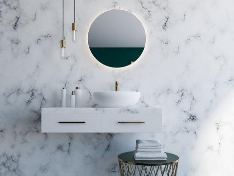 White sink in a modern bathroom
