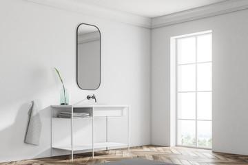 Bathroom corner, sink, vertical mirror, minimalism