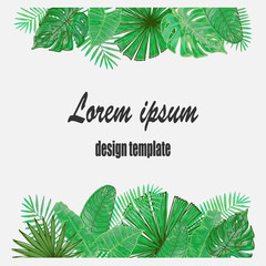Vector frame with tropical leaves. Universal design for card, invitation, banner, poster, placard, cover.